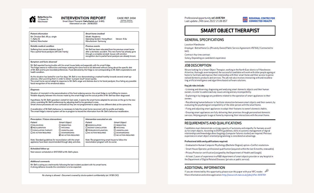 Smart Object Therapist : rapport d'intervention et offre d'emploi